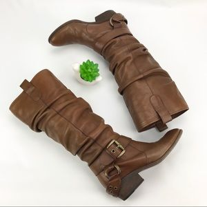 Boutique 9 Leather Boots With Buckle Boho Sz 6